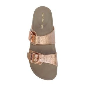 Madden Girl Brando Footbed Sandal in rose gold
